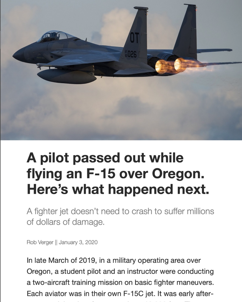 A Pilot Passed Out While Flying an F-15 Over Oregon