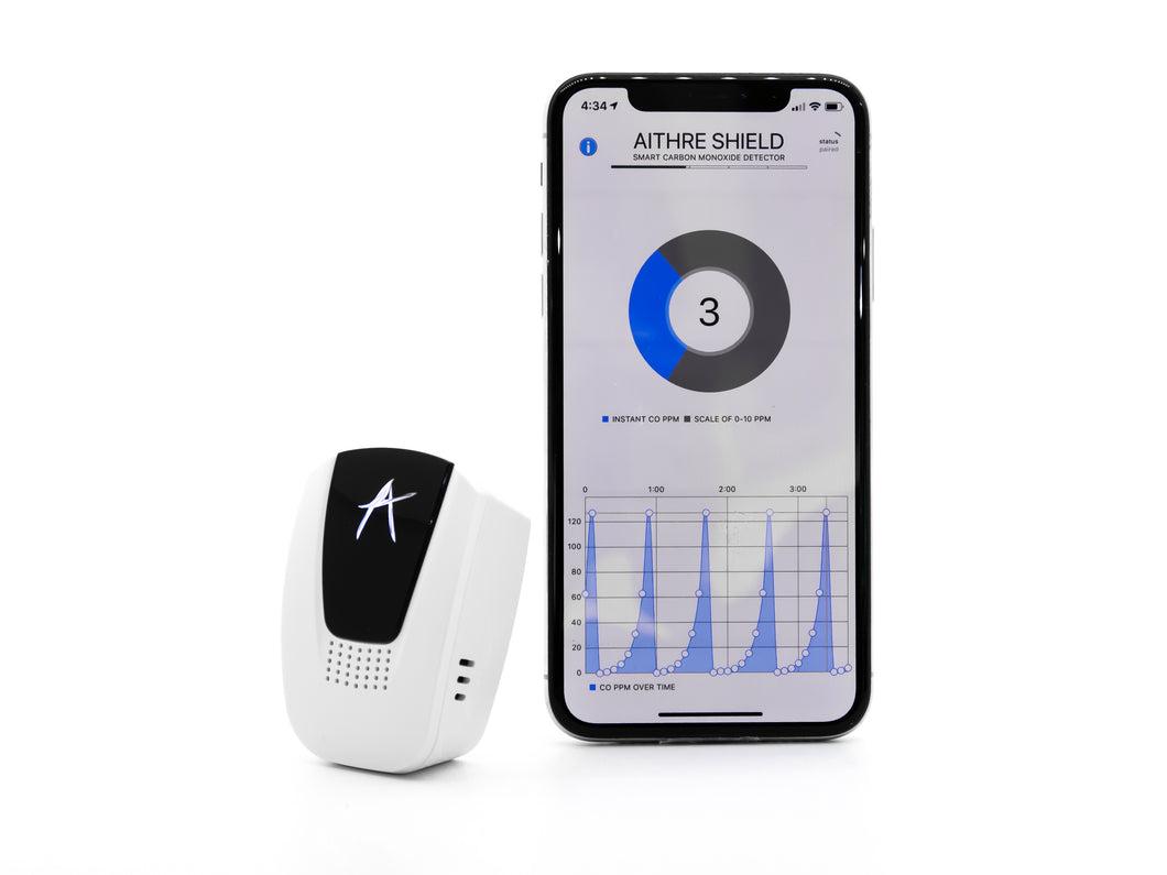 Aithre Shield 4.0 Portable Carbon Monoxide Detector - With iOS App - White