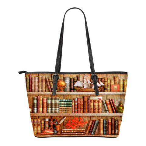 Book Reader Leather Tote Bag V.7