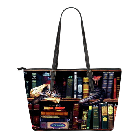 Book Reader Leather Tote Bag V.8