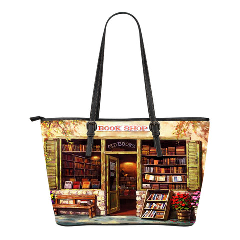 Book Reader Leather Tote Bag V.1