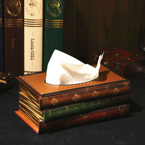 Retro Style Books Wooden Tissue Box