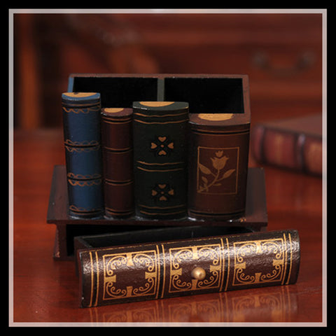 Multifunction Retro Books Wooden Pen Holder