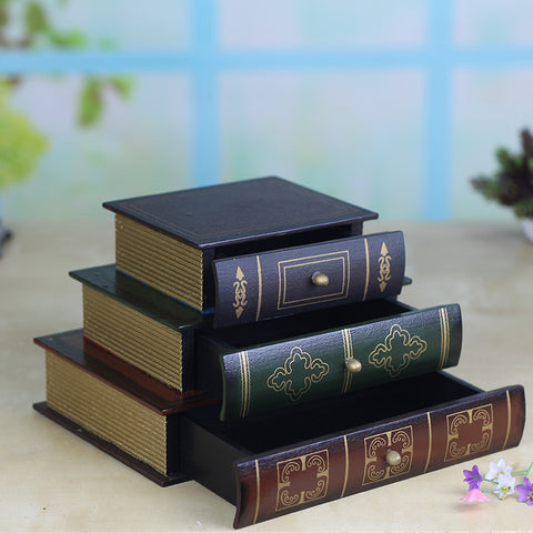 Retro Style Books 3 Layer Drawer Wooden Jewelry Box