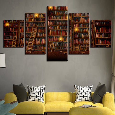 Fantasy Library 5 Piece Wall Canvas Art