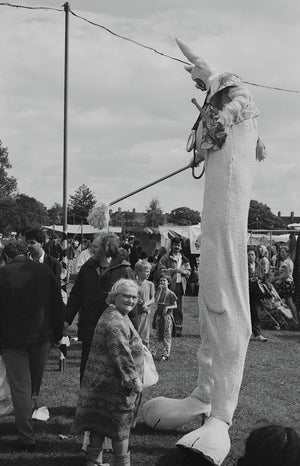 Clown on stilts, Hackney Downs funfair, August 1988