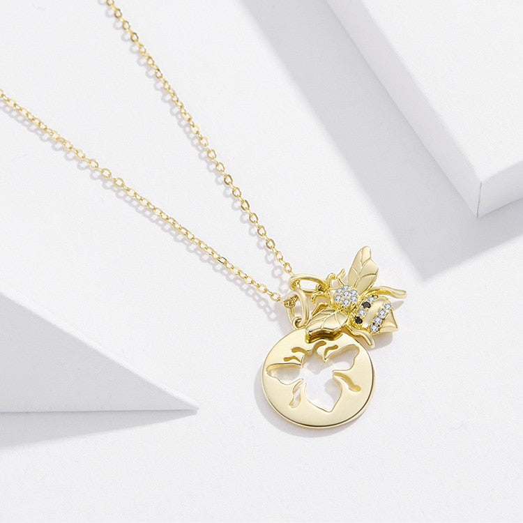 Best sterling silver queen bee necklace for the bees lovers, Get this bee pendant necklace in our store and receive 40% discount