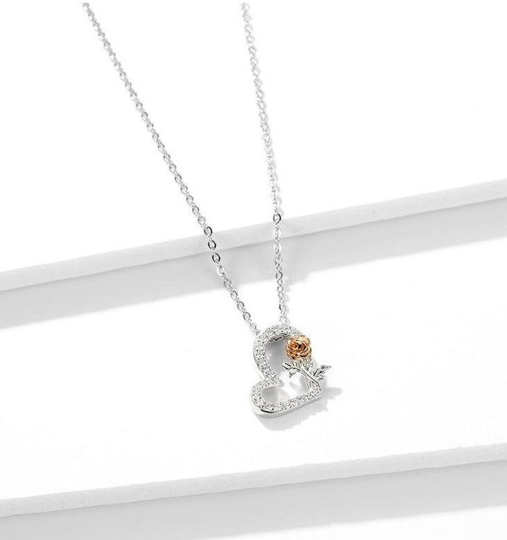 Heart and Rose Sterling Silver Necklace