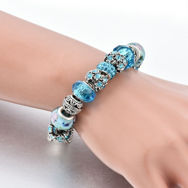 Blue Crystal Beads Charm Bracelets