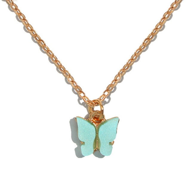aesthetic butterfly necklace, can be added to other necklaces for layers necklace trend