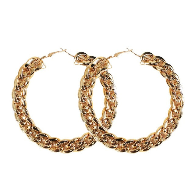 chunky chain earrings, big hoops chain earrings, chain earrings
