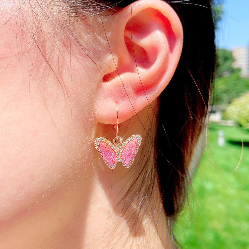 Shimmering butterfly earrings, crystal butterfly earrings, drops earrings, trending earrings