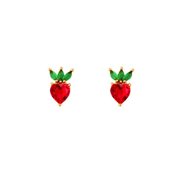 Cute Fruit Crystal Stud Earrings