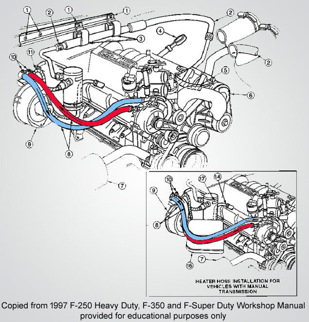 1997 Ford 5.8L 351 heater core lines, an illustration