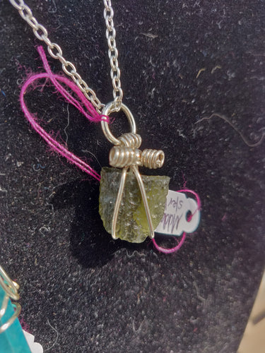 Moldavite in sterling