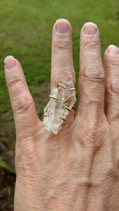 Tabular quartz brass adjustable ring