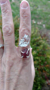 Herkimer diamond pink tourmaline sterling silver ring