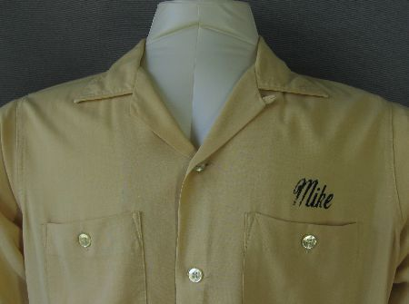 50s 60s Vintage Classic Bowling Shirt M Flocked Logo