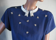 40s Blouse Vintage Top Beaded Pearls M/L Dress Suit