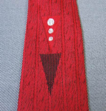 1950s vintage geometric red silver Mad Men necktie