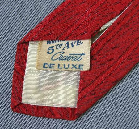 vintage 50s 5th Ave Cravat Deluxe necktie label
