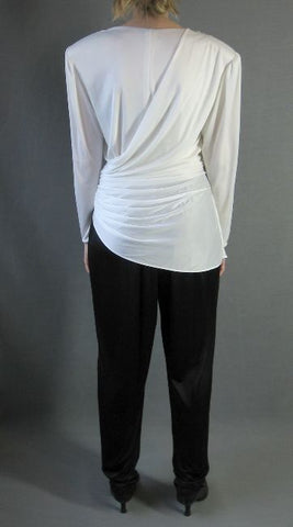 80s Vintage Jumpsuit Draped Peplum Black and White M DYNASTY