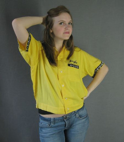 vintage 1950s yellow bowling shirt womens