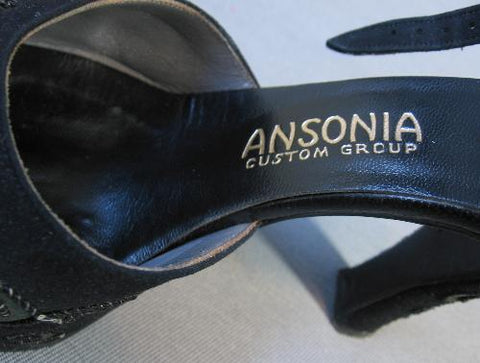 1940s vintage shoes Ansonia logo tag