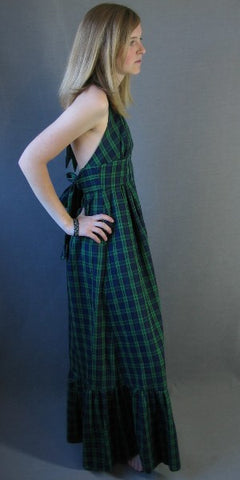 70s Vintage HALTER Maxi Sun Dress Preppy Preppie Plaid Ruffled M Town Gown