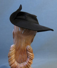 Vintage 40s Wide Broad Brim Assymetrical Dramatic Hat Brown Felt