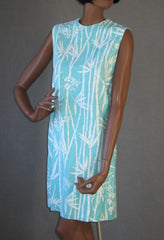 60s Mini Dress Bamboo Print Vintage Shift S M Aqua