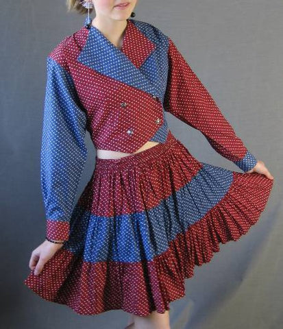 80s Vintage Mini Circle Skirt Top S Red White Blue Western