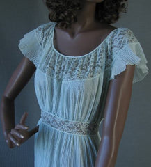 Barbizon Aqua Crystal Pleated Nightgown LACY Vintage 50s M