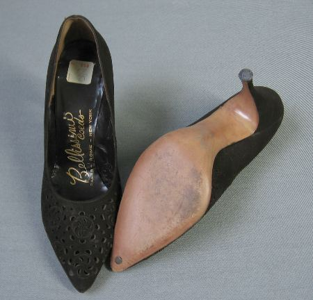 50s 60s Vintage Brown Suede Cutwork Stiletto Heels Shoes 7-9