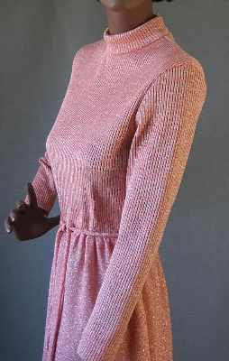 70s Vintage Peach Sparkle Knit MOD Party Dress M STARS