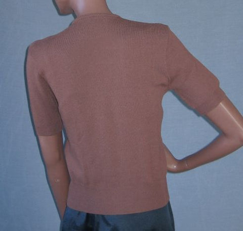50s Vintage Brown Wool SS Pullover Sweater S Pinup