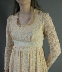 Lace 70s Vintage Long Maxi Dress Empire Waist S XS Boho