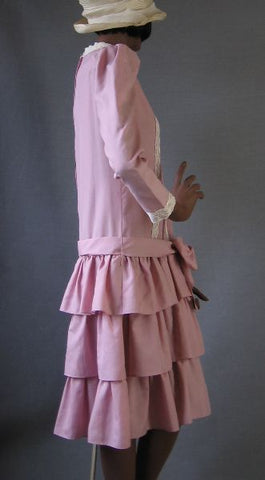 70s Vintage 20s Flapper Style Drop Waist PINK Dress S