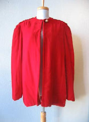 Vintage 40s RED Velvet Dress Jacket Coat Embellished