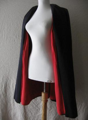 40s Vintage Navy Clutch Swing Coat Jacket Red Lining M