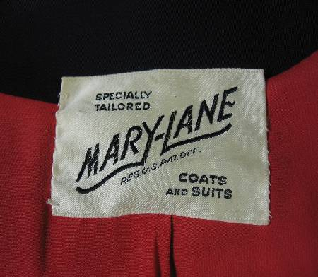 1940s vintage coat Mary-Lane label
