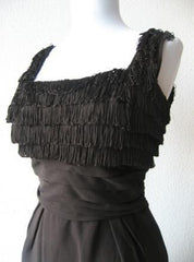 Vintage 50s 60s Black Fringe Bodice Empire Wiggle Dress S