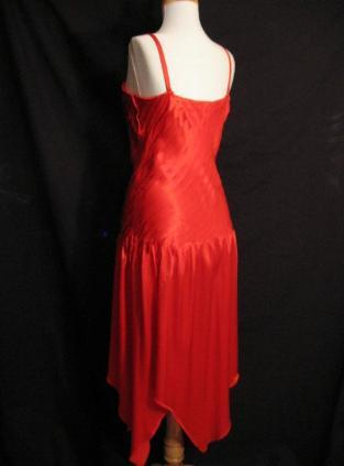Vintage 70s RED Satin DISCO Dance Dress Handkerchief Hem S