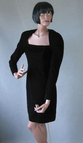 80s Vintage Victor Costa Mini Dress 1980s Black Velvet Wiggle S