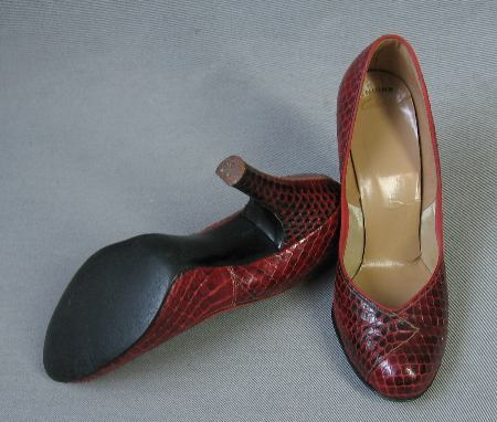 50s Vintage Babydoll Pumps Heels Shoes Red Snakeskin 6.5 7