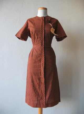 1960s vintage rust black checked day dress