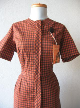 1950s vintage plaid day dress