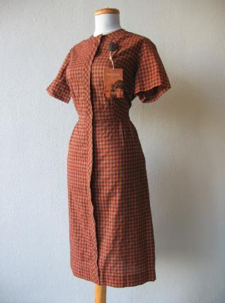 vintage 1950s check dress deadstock