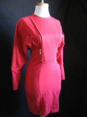 Vintage 80s Mini Dress Punk Zipper Red Fitted Wiggle S