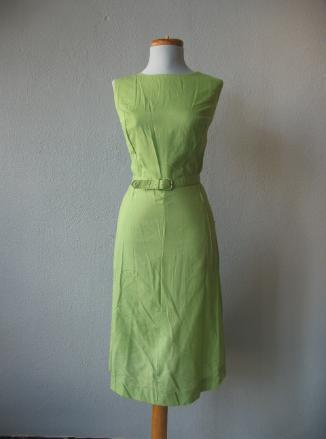 1950s vintage green sheath dress